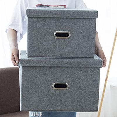 린넨폴리패브릭 덮개형 옷 수납 박스 정리함 (초대형)