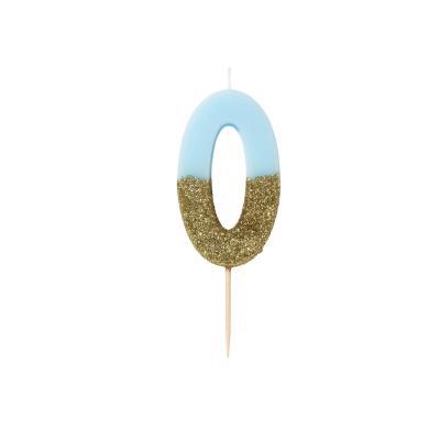 블루 글리터 숫자초 0