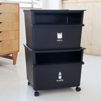 [엔플라스틱]클린업 분리수거함2단(45L)