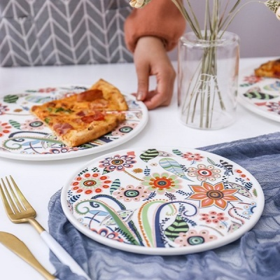 온나 세라믹 플라워 디저트 접시 그릇