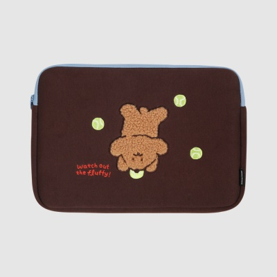 모찌타운 푸들 브라운 노트북 파우치 - 13인치