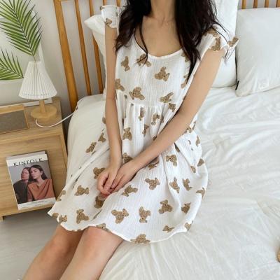 순면 곰돌이 민소매 원피스 여름 잠옷