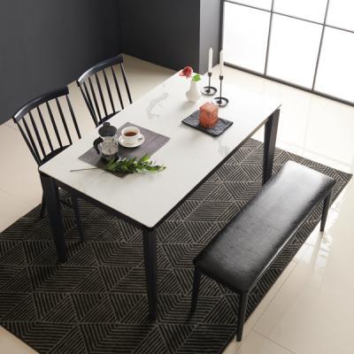 아르메 리얼스톤 세라믹 4인 식탁세트(의자2+벤치1)