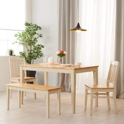 아르메 버니 고무나무 원목 4인식탁세트(의자2+벤치1)