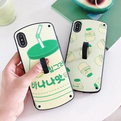 아이폰 바나나유유 패턴 소프트 거치대 커플 폰케이스