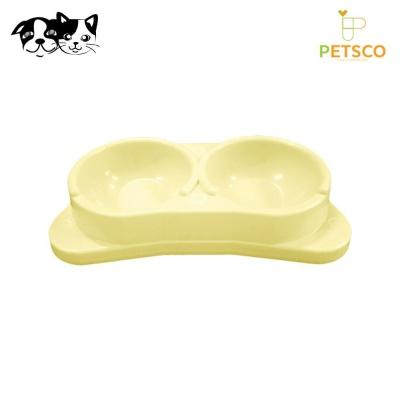펫츠코 각도 쌍식기 (아이보리) (애완용 식기)