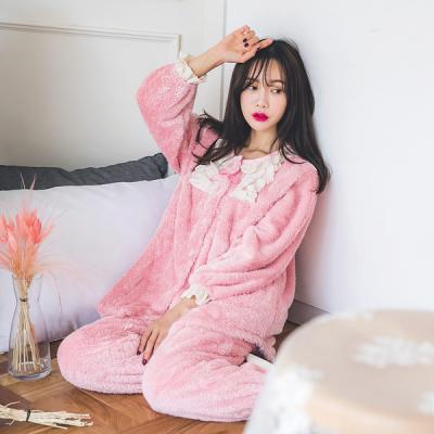 [쿠비카]솜사탕 보아 극세사 투피스 여성잠옷 W256