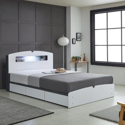 리트로 통서랍 LED Q 침대(매트리스포함)