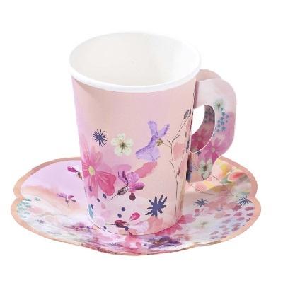 [TT] 블라썸 종이 컵, 종이컵 받침 12개 티파티 세트