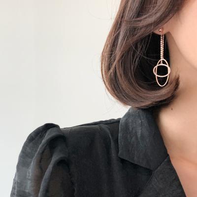14K 세련된 원형 큐빅 귀걸이