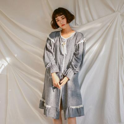 [쿠비카]프렌치 긴소매 라운드 원피스 여성잠옷 W398