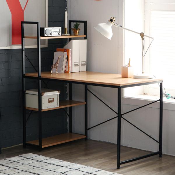 [랜선할인]블랙스틸 H형 책상+책장 세트 YS502