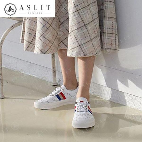 [애슬릿]여성 패턴 니트 배색 스니커즈 운동화 3cm