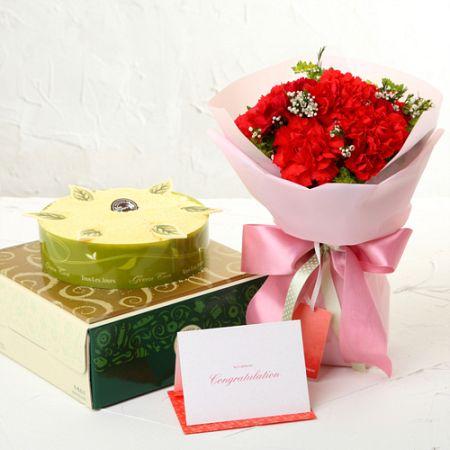 녹차케익+카네이션레드(꽃배달,부모님선물,어버이날,스승의날,카네이션,효도선물,전국무료배송)