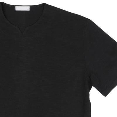 남성 여성 여름 데일리 반팔 티셔츠 심플 노치넥티