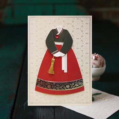카드/축하카드/감사카드/연하장 은색 자수 한복 FT3002-4