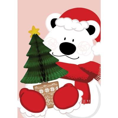 유리컴 카드 허니콤 크리스마스 트리곰