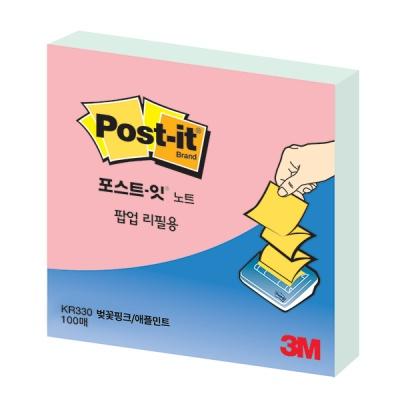 3M 포스트-잇 팝업리필 KR-330 벚꽃 핑크/애플 민트
