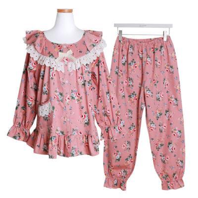 [쿠비카]순면 긴소매라운드 투피스 여성잠옷 W407