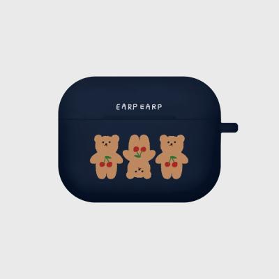Three cherry big bear-navy(Air pods pro case)