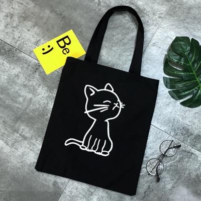 고양이 캐릭터 에코백(블랙)