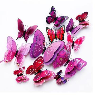 겹날개 3D 나비스티커 핑크 12P