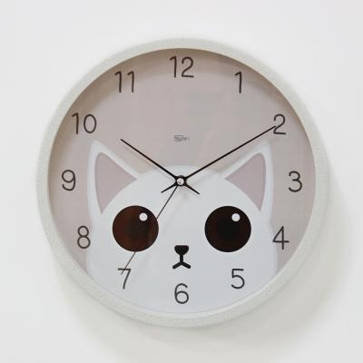 (kdrz150)저소음 스틸 고양이시계 300 화이트