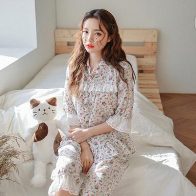 [쿠비카]앞트임 프릴소매 7부 투피스 여성잠옷 WM149