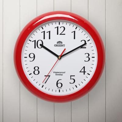 오리엔트 무소음 OT651 레드 방수 인테리어벽시계