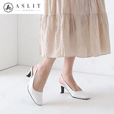 [애슬릿]여자 스퀘어 밴딩 슬링백 미들 힐 구두 6cm