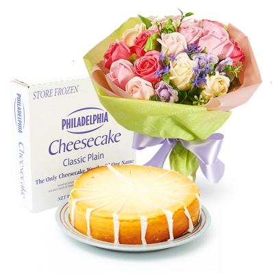 필라델피아 치즈케익 플레인(1700g)+비누꽃 일루션다발