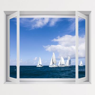 iv351-푸른하늘아래바다와요트_창문그림액자(중형)