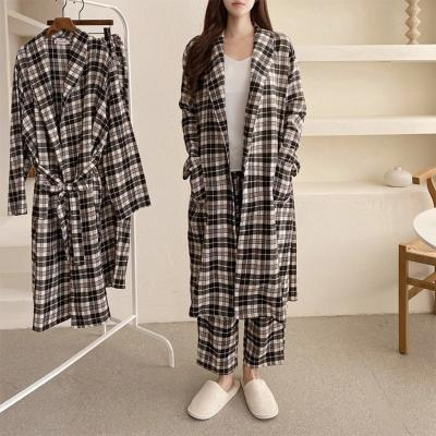 [Set] Gimo Black Check Robe + Wide Pants - 커플룩