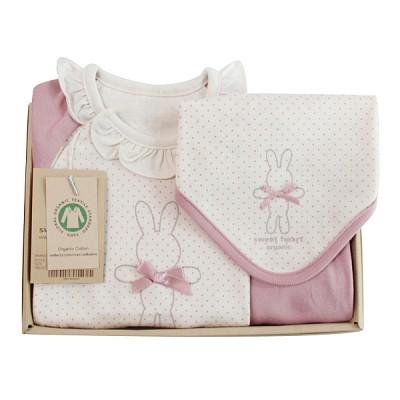 [출산선물/백일선물/돌선물]오가닉 핑크래빗 쁘띠 선물세트