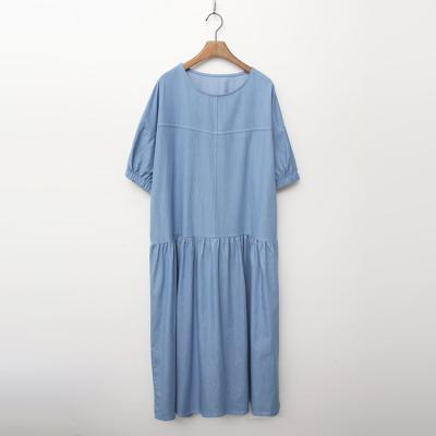 Summer Denim Puff Long Dress