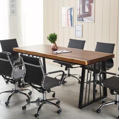 회의테이블 폭600 1800 우드슬랩 테이블 6인용