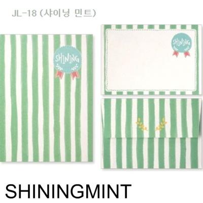 문구용품 디원 미니 편지지 JL18 샤이닝 민트 1개