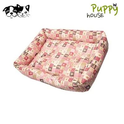 퍼피하우스 강아지 사각방석 플래드 (핑크)