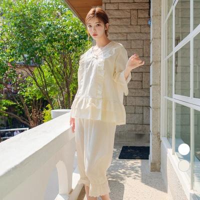 [쿠비카]세로 펀칭 프릴 7부 투피스 여성잠옷 W569