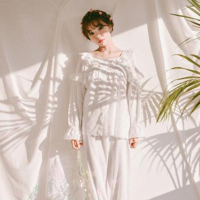 [쿠비카]펀칭 플라워 은사자수 투피스 여성잠옷 W269