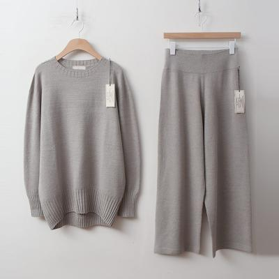 [Set] Laine Round Knit + Wide Pants