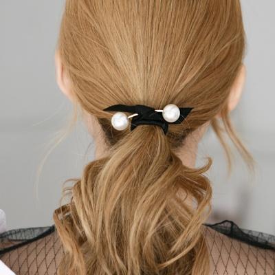 더블 진주 리본 머리끈