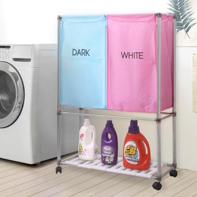 분리보관함 핑크블루2P 2단 세탁/빨래통/세탁선반