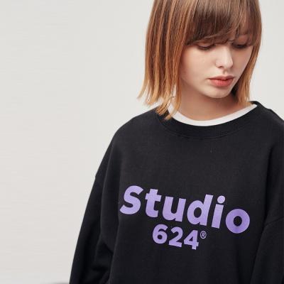 (UNISEX) 스튜디오624 루즈 빅로고 맨투맨 BK