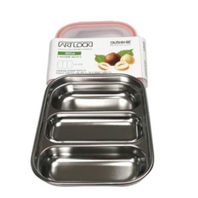 키친아트 스텐 반찬통 1호 3구 360ml김치 보관 냉장고