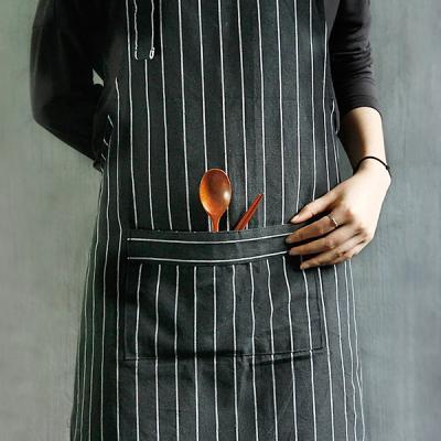 줄무늬 핀 스트라이프 앞치마 블랙 컬러