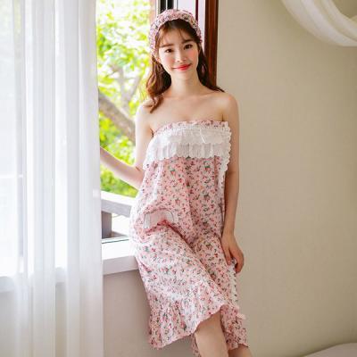 [쿠비카]플라워 프린팅 벨크로 랩가운 여성잠옷 W321