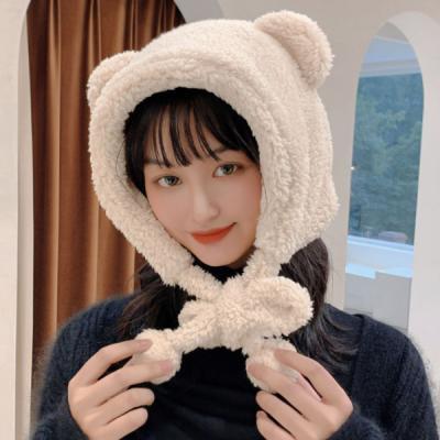 곰도리 귀여운 겨울 뽀글이 털방울 털모자