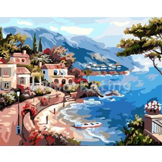 DIY 명화그리기 - DIY 해안가의마을 (G302) 40x50 그림 (유화/그림그리기/직접그리기/아크릴/취미/색칠)