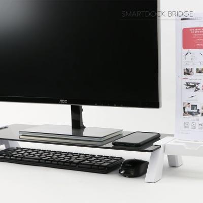 스마트독브릿지 국내제조 노트북모니터받침대 USB3.0-브릿지 | S317 블랙+투명강화유리 USB